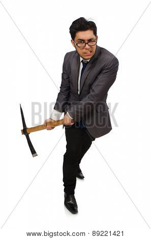 Young businessman holding a tool isolated on white
