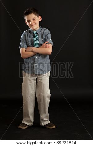 Boy With Arms Crossed Acting Tough