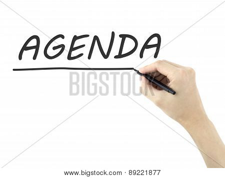Agenda Word Written By Man's Hand