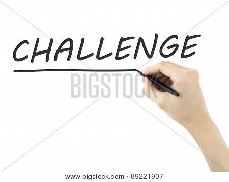 Challenge Word Written By Man's Hand