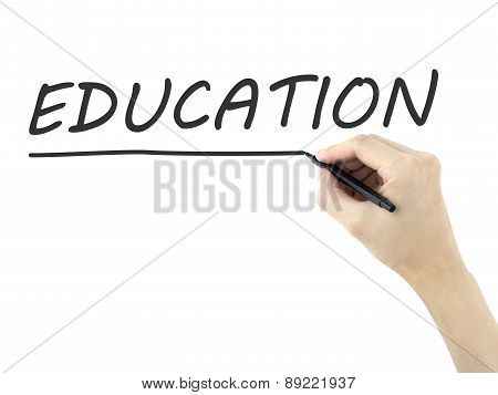 Education Word Written By Man's Hand