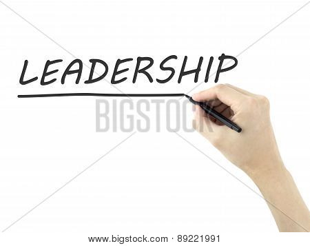 Leadership Word Written By Man's Hand