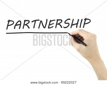 Partnership Word Written By Man's Hand