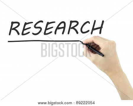 Research Word Written By Man's Hand
