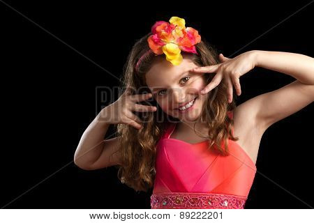 Young Girl Vibrant Dress Hand S By Face