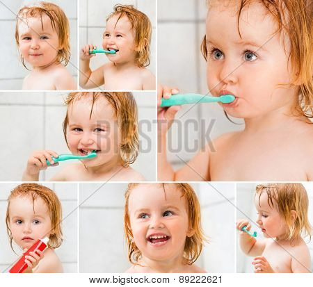 photo collage dental hygiene. Cute baby brushing teeth in bathroom