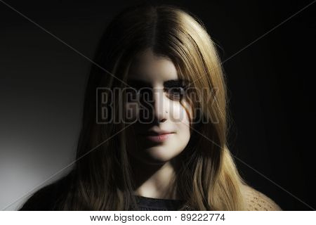 Dramatic Girl Staring At Camera