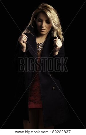 Stylized Latina Girl In Long Black Jacket