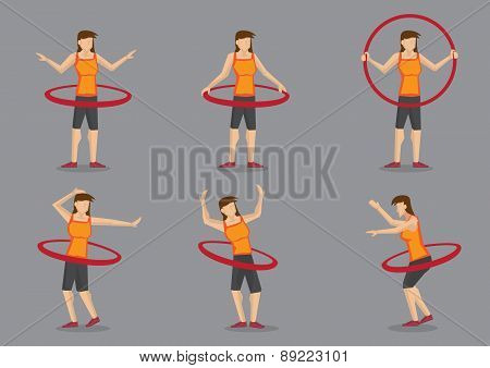 Hula Hoop Fitness Workout Vector Character Illustration