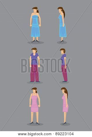 Woman Vector Icons Front And Side View