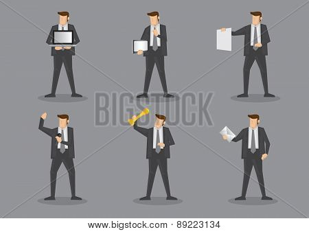 Businessman Holding Work Equipment And Office Supplies