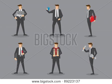 Businessman In Suit Carrying Props