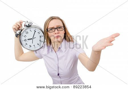 Young employee holding alarm clock isolated on white