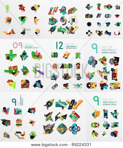 Set of vector abstract paper elements, infographics templates, presentation, banners