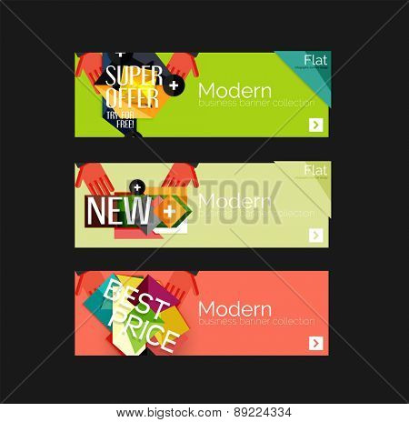 Set of banners with stickers, labels and elements for sale. Vector illustration
