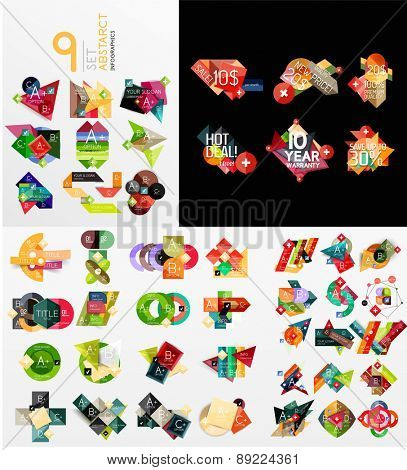 Colorful abstract geometric layouts, mega collection. Vector illustration