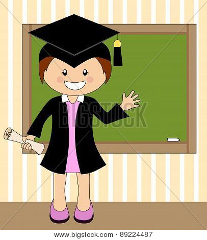Cartoon Girl In Cap And Gown Graduate