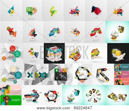 Mega set of abstract geometric web banner decorations. Vector illustration