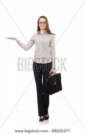 Business lady with case isolated on white