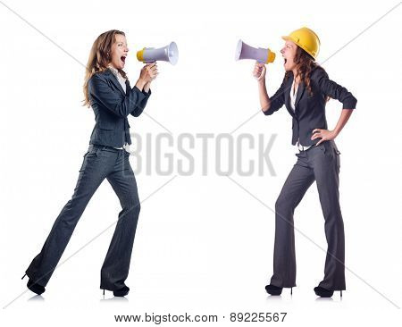 Businessladies with loudspeakers isolated on white