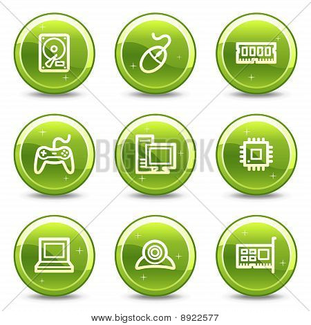 Computer Web Icons, Green Glossy Circle Buttons Series