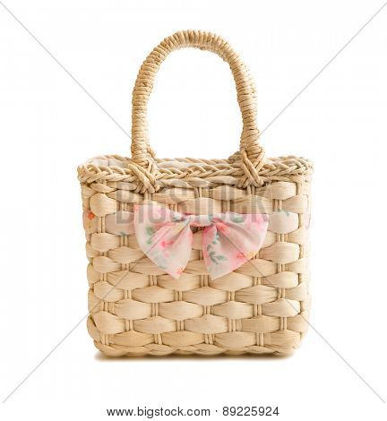 wicker beach bag isolated on white