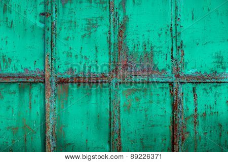 Rusty Turquoise Painted Metal With Cracked Paint, Texture Color Grunge Background