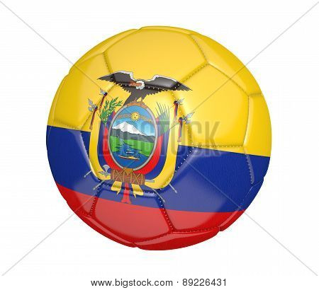 Soccer ball, or football, with the country flag of Ecuador