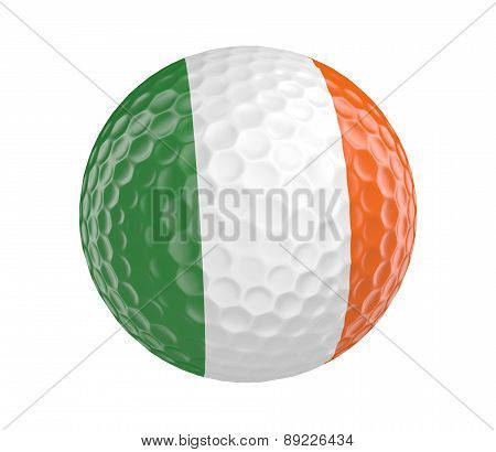Golf ball 3D render with flag of Ireland, isolated on white