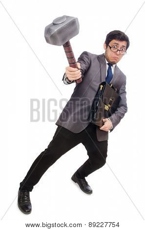 Business man holding hammer isolated on white