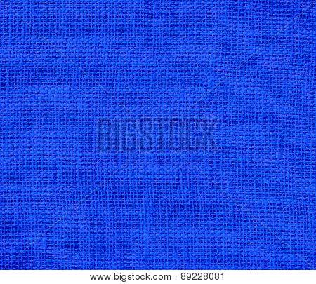 Blue (RYB) color burlap texture background