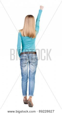 Back view of  woman.  Raised his fist up in victory sign.  Rear view people collection.  backside view of person.  Isolated over white background.