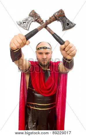 Gladiator with hatchet isolated on white