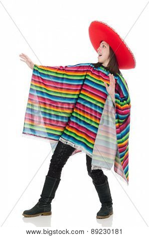 Pretty mexican girl in vivid poncho isolated on white