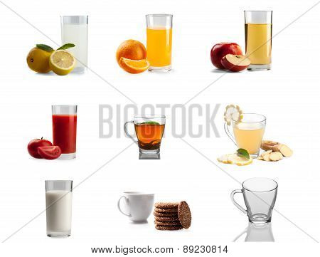 Set Of Non-alcoholic Drinks. Lemon Juice, Orange Juice, Apple Juice, Tomato Juice, Mint Tea, Ginger