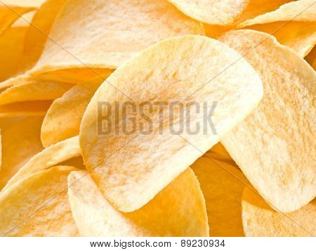 Potato chips. Food background.