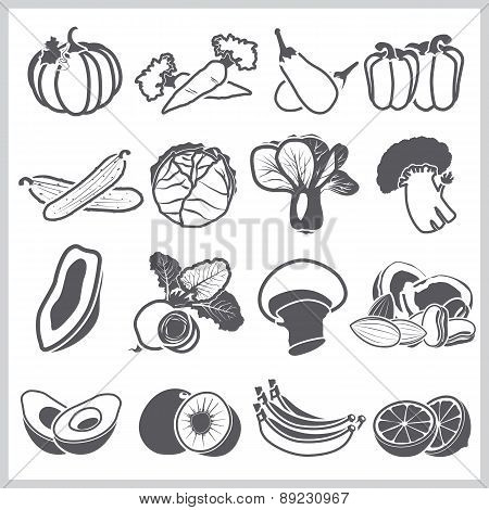 Ingredients Icons Set Vegetable And Fruit For Nutrition Food