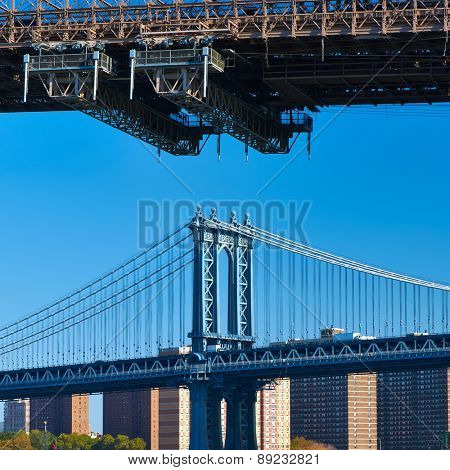 Manhattan Bridge and skyline in New York City