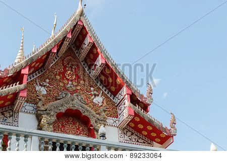 The Sculpture On Thailand Temple Gable