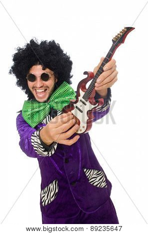 Funny man with toy guitar isolated on white