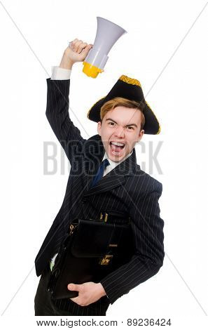 Young man in costume with pirate hat and megaphone isolated on white