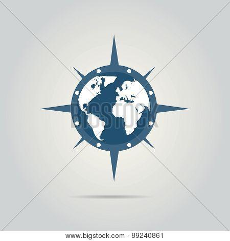 World globe illustration with compass