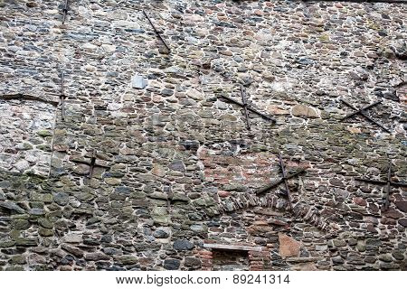 Old Fortress Stone Masonry Wall Pattern
