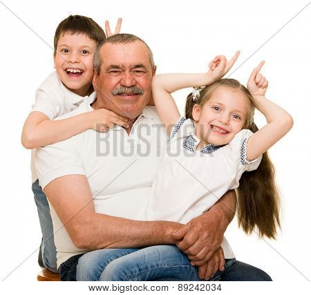 Grandfather and grandchildren portrait