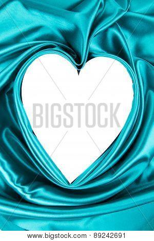 White heart of blue silk. Texture.