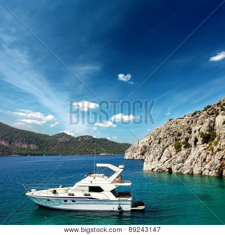 yacht moored off the coast. background sea