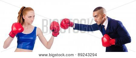Pair boxing isolated on the white