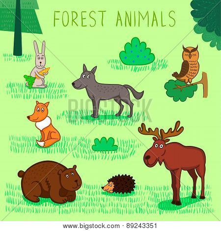 Vector Collection Of Forest Animals