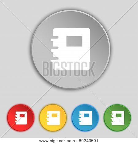 Book Icon Sign. Symbol On Five Flat Buttons. Vector