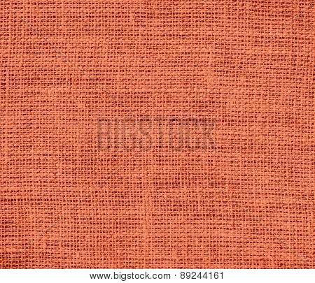 Burnt sienna color burlap texture background
